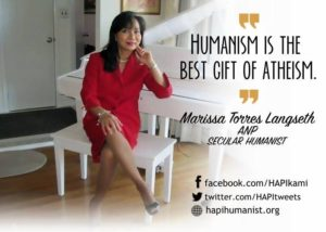 ms Ms at home thinking of how to make atheism blossom in the Philippines.