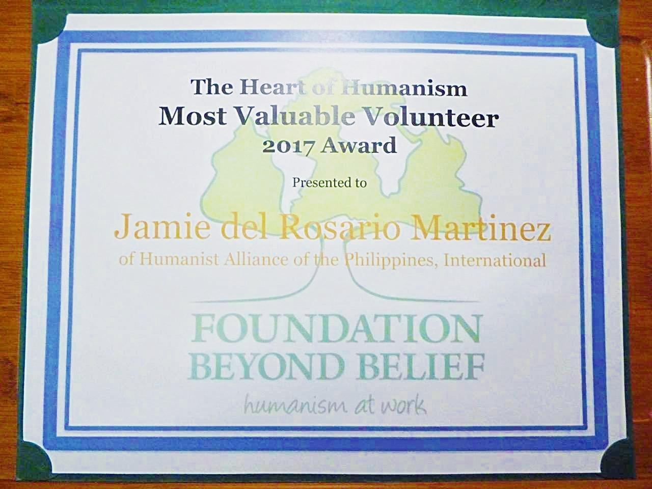 "HAPI Executive Secretary named ""Most Valuable Volunteer"" Humanist"