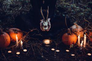 candles, pumpkins, witch